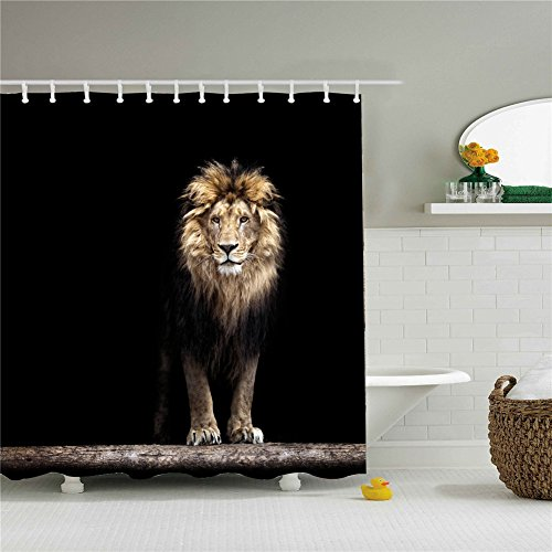 Shower Curtain Animal Lion Print Set Mildew Resistant Waterproof/Water-Repellent and Antibacterial 66x72 Inch by Shower Curtain