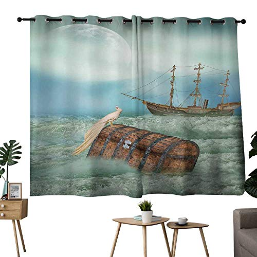- light blocking curtains Fantasy,Antique Old Trunk in Ocean Waves with Magic Bird Pirate Boat Picture,Mint Green Pale Caramel,Treatments Thermal Insulated Light Blocking Drapes Back for Bedroom 52