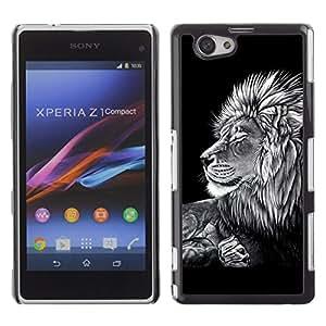 TECHCASE**Cubierta de la caja de protección la piel dura para el ** Sony Xperia Z1 Compact D5503 ** Black White Art Drawing Lion Big Feline