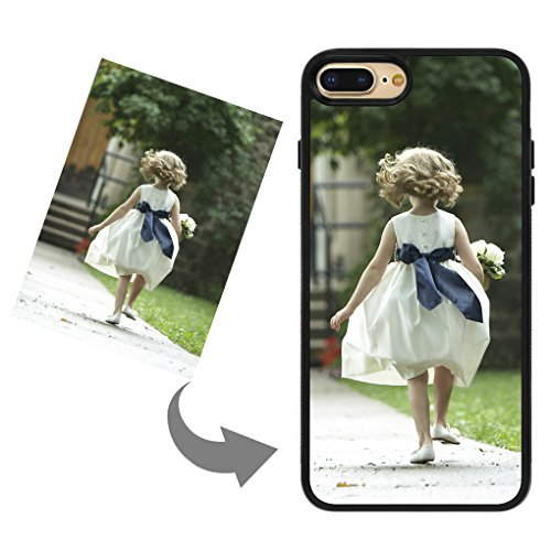Moonlove Personalized Custom Case for iPhone 7 8 Plus Create Your Own Photo Customized Cover Case Soft Thin Rubber PC Shock Absorbing Protective Case (TPU Black, for iPhone 7 Plus/ 8 Plus)