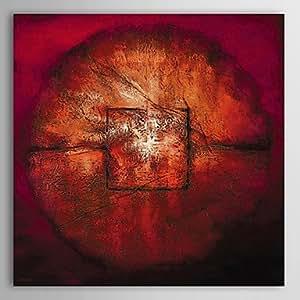 F. latoo pintado a mano con pintura al óleo Abstract Red Signet con ampliado Marco