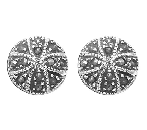 - Small Sterling Silver & Marcasite Cross Pattee Stud Earrings