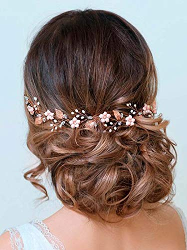 Aukmla Bride Wedding Hair Vines Flower Headbands Crystal Headpiece Bridal Jewelry for Women and Girls (Rose Gold)