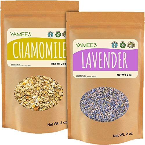Yamees Lavender and Chamomile - Dried Cut Leaves - Natural Herbal Tea - Loose Tea - Bulk Spices - 2 Pack of two oz. Each