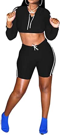 FSSE Women's Casual 2 Pcs Outfits Yoga Gym Workout Athletic Hoodie Crop Top Bodycon Shorts