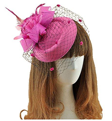 Women Fascinators Hair Clip Headband Flower Veil Pillbox Hat for Wedding Party Rose Red -
