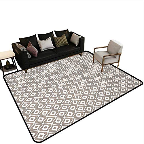 - Kids Rugs for playroom Abstract,Waves Curvy Motifs Mosaic Tile Pattern Old Fashioned Design with Retro Effect,Taupe White,for Living Room Bedrooms Kids Nursery Home Decor 2'x 3'