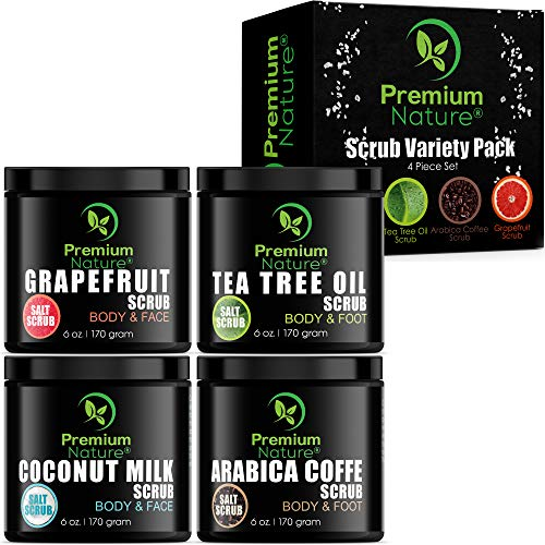 Body Scrubs Gift Variety Pack - Set of 4 Scrubs 6 oz each Grapefruit Coffee Tea Tree Oil & Coconut Milk Exfoliating Face Scrub Exfoliator with Essential Oils for Women Men Best Beauty Relaxation Gift