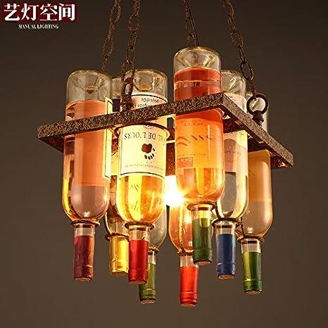 Silencio @ decorado con lámparas de araña creativo vino botella personalidad arte lámparas de araña 300