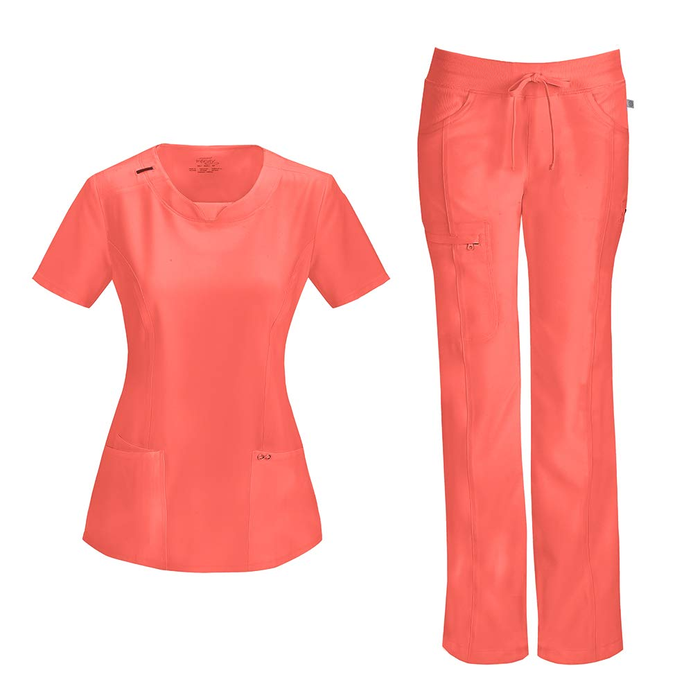 Cherokee Infinity Women's with Certainty Round Neck Top 2624A & Low Rise Drawstring Pant 1123A Scrub Set (Antimicrobial) (Orange Sugar - Medium/Large)