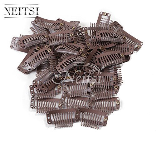 - Neitsi 50pcs I-shape Snap Clips Metal Clips for Hair Extensions DIY Clip-on (3.2cm, Brown)