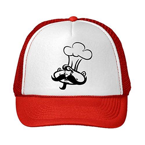 Speedy Pros Chef Adjustable High Profile Trucker Hat Cap Red
