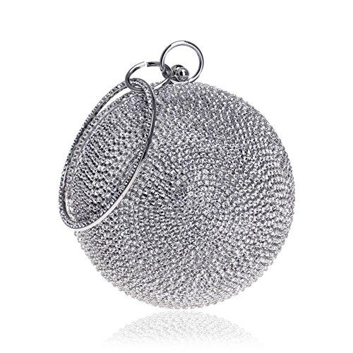 Clutch Bags Silver Women Wristband Party Wedding Color Handbag Shoulder Orfila Evening Multi Globular Dress OE7OnU4