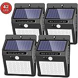Solar Lights Outdoor [42 LED/3 Working Mode], SEZAC Solar Security Lights Solar Motion Sensor Lights Wireless IP 65 Waterproof Outdoor Lights for Garden Fence Patio Garage (4 Pack)