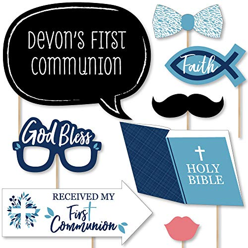 Custom First Communion Blue Elegant Cross - Photo Booth Props - Personalized Boy Religious Party Supplies - 20 Selfie Props Boy First Communion Cut Out