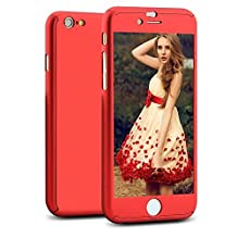 iPhone 6/6S Case, NOKEA 360 Ultra Thin Full Body Coverage Protection Premium Matte Finish Dual Layer Hard Case Cover & Skin for Apple iPhone 6 4.7 (Red)