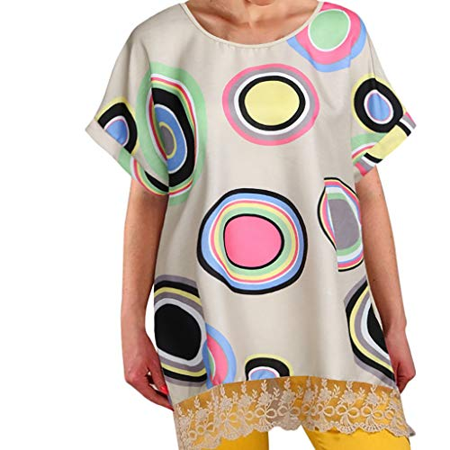 Tantisy ♣↭♣ Women's Plus Size Tops Tunic Blouse Bohemian Summer Prints Short Sleeve Dress Beach Maxi Dress Khaki ()