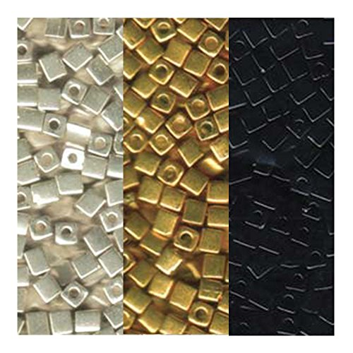Metallic Miyuki 4mm Square Cube Japanese Glass Seed Bead Mix - Metallic Gold, Silver and Opaque Black 60 grams Total (Square Beads)
