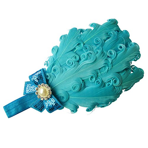 Moleya Baby Girls' Hair Band Clip with Stretchy Headband & Feather (Lake Blue)