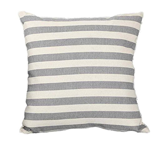 Pillow Covers HCFKJ Linen Blend Stripe Print Sofa Bed Home Decoration Festival Pillow Case Cushion Cover Coffee/Gray/Red 45cm x 45cm/18x18