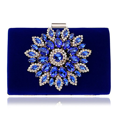 Handbag Bag Evening Luxury Purse Style Chinese Banquet Clutch Black Women's Diamond KERVINFENDRIYUN Blue Color UqXZtt