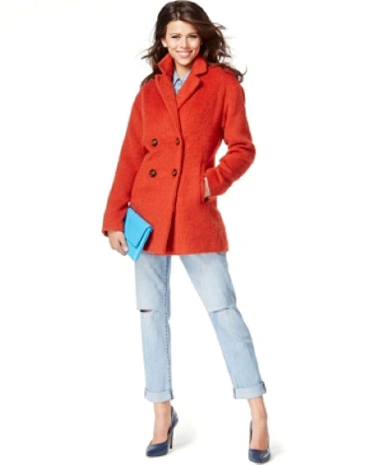 Wildflower Double-Breasted Wool-Blend Peacoat Large Pimento