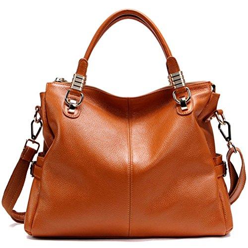 Paste Women's Genuine Leather Hobo Tote Purse Satchel Handbag/shoulder Strap Brown 2p0951- Brown