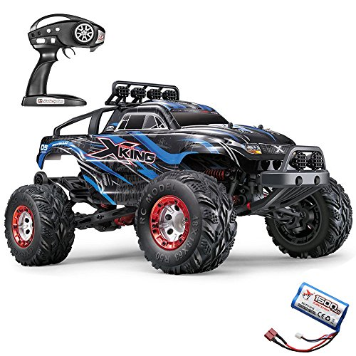 RC Truck,JTT-TOYS 1/12 Scale X-King-5 4WD 35km/h High Speed RC Monster Truck with 2.4GHz Remote Control with Extra Battery (Blue) (Rc King Battery)