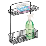 mDesign Wall Mount Kitchen Storage Organizer Holder or Basket - Hang on Cabinet Doors in Kitchen/Pantry - Holds Dish Soap, Window Cleaner, Sponges - Steel Wire in Matte Black Finish