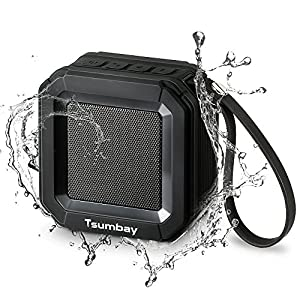 Mini Portable Outdoor Bluetooth Speakers IPX6 Water Resistant Shower Speakers by Tsumbay, Wireless Stereo Sound, 20 Hours Playtime, Powerful 5W Driver and Enhanced Bass, Built-in Mic