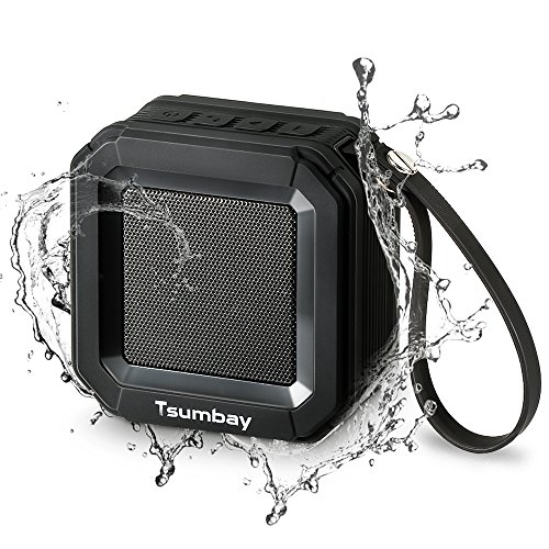 Mini Portable Speakers with Wireless Stereo Sound, Tsumbay IP65 Water Resistant Outdoor Speakers with Built-in Mic, Powerful 5W Shower Speakers with Bass, 20 Hours Playtime – Black