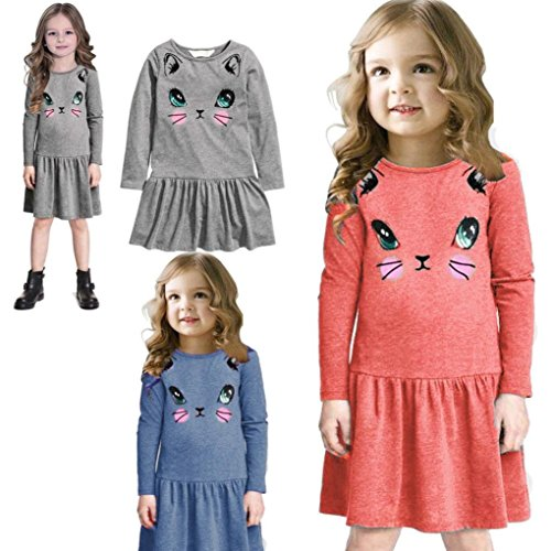 2016 Baby Girls Kids Casual Cat Printed Dresses Children Clothing Princess Dress