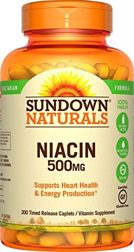 - Sundown Naturals® Niacin 500 mg, 200 Time Release Caplets