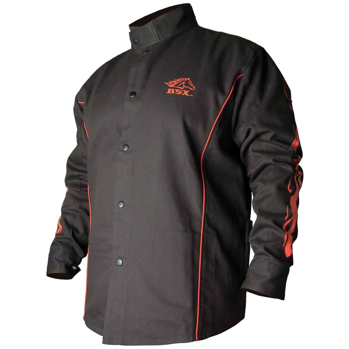 BSX Flame-Resistant Welding Jacket - Black with Red Flames, Size 3X-Large