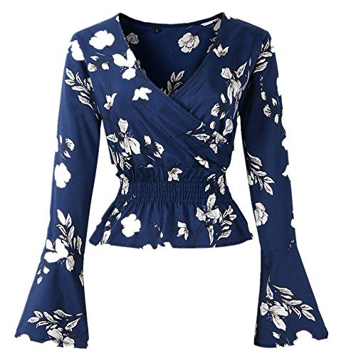 Cenglings Women's V-Neck Floral Print Bell Sleeve Blouse Wrap Front Crop Top ()