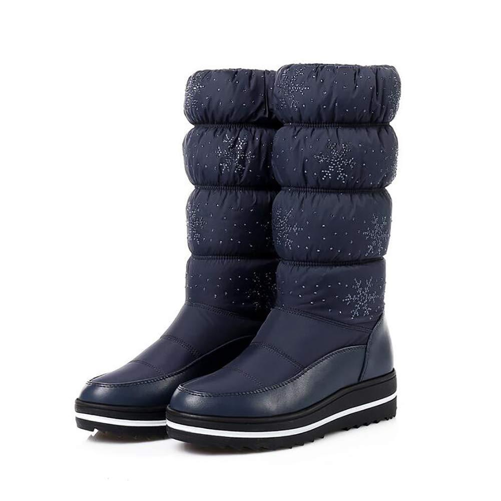 Beiläufig Schneestiefel Frau Warm Halten Winterstiefel Kristall Dick Plüsch Schuhe Rutschfest Wasserdicht Hohe Stiefel,Blau,41 (Farbe   Blau, Größe   37)