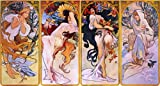 Vintage Ad Poster - Four seasons by Alphonse Mucha 24 X 13.5