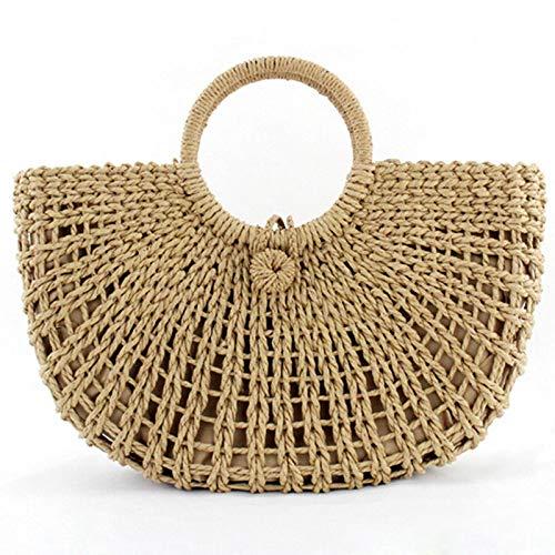 Price comparison product image Agordo Woven Women Flower Basket Vintage Rattan Straw Bag Beach Hollow Handbag Zipper