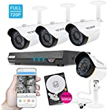 TECBOX 4 Channel 720P AHD Home Security Camera System DVR Recorder 500GB Hard Drive Preinstalled With 4 HD 1.3MP Waterproof Night Vision Indoor Outdoor CCTV Surveillance Camera