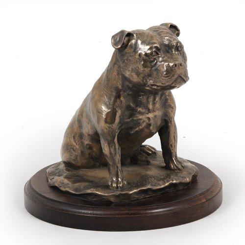 Staffordshire Bull Terrier, Dog Figure, Statue on Woodenbase, Limited Edition, Artdog