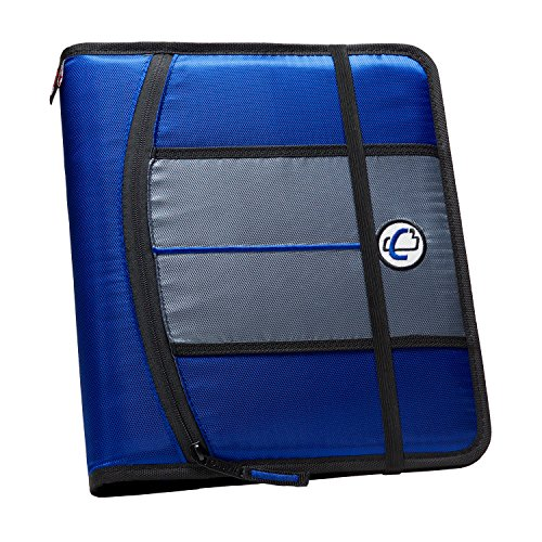 Case-it 1-Inch 3-Ring Binder, 5-Tab, 6-Pocket, Blue (SLIM-621-FN-Blu)