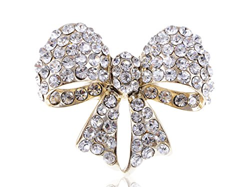 (Alilang Women Golden Tone Clear Crystal Rhinestone Bow Statement Adjustable Ring)