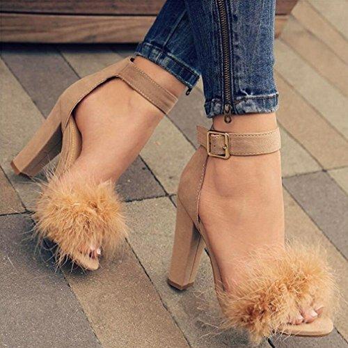 Las Mujeres Grandes Más el Tamaño 42 42 43 Zapatos de Tacón Alto con Hebilla de Conejo Sandalias de Tacón Alto Segundo