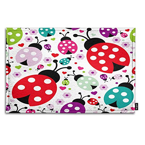 Mugod Ladybug Indoor/Outdoor Doormat Seamless Kids Lady Bug Polka Dot Hearts Flowers Pattern Funny Doormats Bathroom Kitchen Decor Area Rug Non Slip Entrance Door Floor Mats, 15.7