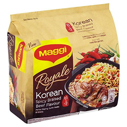 Maggi Royale Korean Spicy Braised Beef Flavour/Springy Noodles In Rich Flavorful Meaty Broth/With Meat-Like Garnish/Heat Of Real Chilies/Spicy Kick In Every Bite!/Fiery Yet Addictive/4 packs x 83g by Maggi