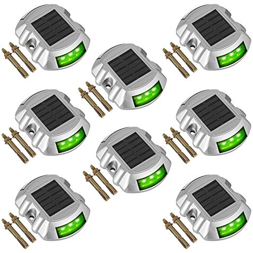 Happybuy Driveway Lights 8-Pack Solar Driveway Lights Bright Green with Screw Solar Deck Lights Outdoor Waterproof Wireless Dock Lights 6 LEDs for Path Warning Garden Walkway Sidewalk Steps ()