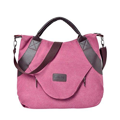 YJYDADA Bag,Retro Women's Canvas Zipper Shoulder Bags With Corssbody Bag&Handbag (Wine)