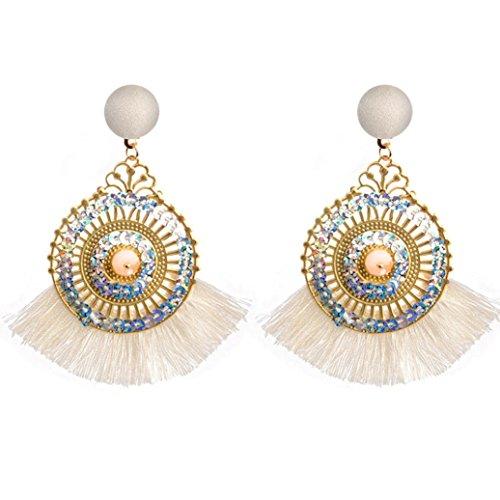 Women's Earrings Studs,Lavany Openwork Style Big Circle Crystal Tassel Dangle Earring (Circle Freshwater Earrings)