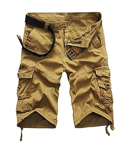 Leward Mens Casual Slim Fit Cotton Solid Multi-Pocket Cargo Camouflage Shorts (36, Khaki)