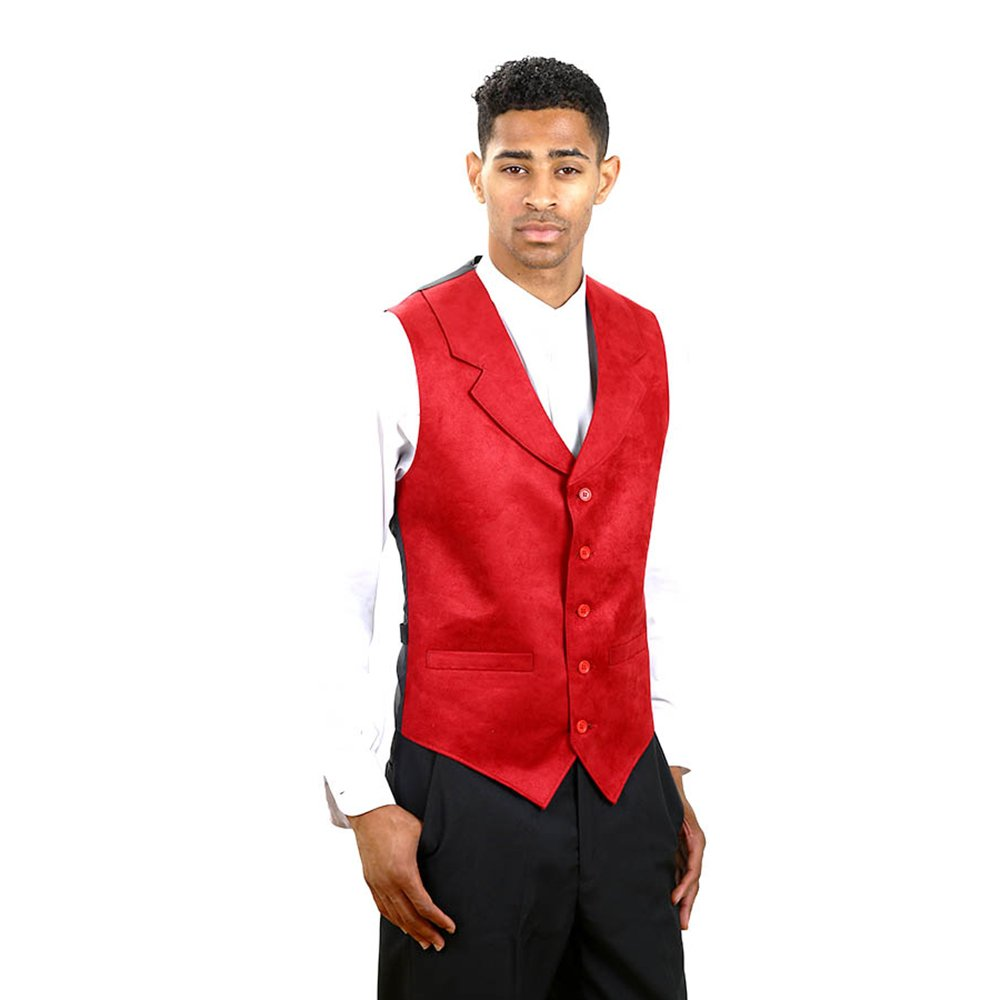 SixStarUniforms Mens Suede Notch Lapel Dress Vests